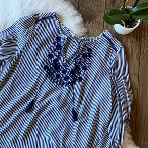 Blue striped floral embroidered tunic